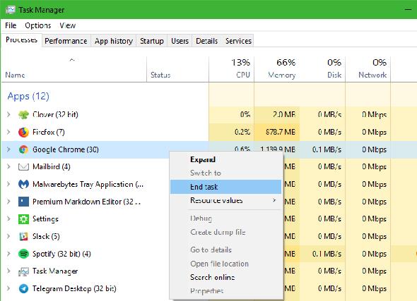 Windows Kill Kill Manager Chrome